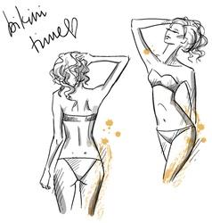 Drawing of beautiful girls wearing bikini vector