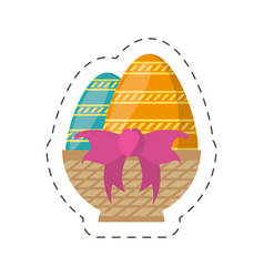 Easter basket egg bow decoration-cut line vector