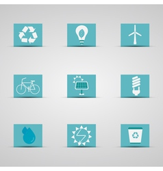 Eco friendly icon set in lovely blue and silver vector
