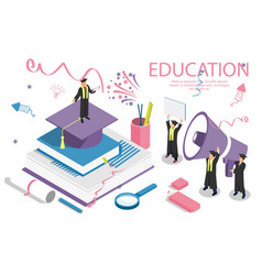 education concept banner with characters can use vector image