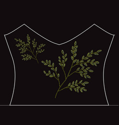 embroidery floral leaves vector image