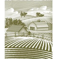 farm scene landscape vector image