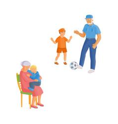 flat cartoon grandparents and children set vector image