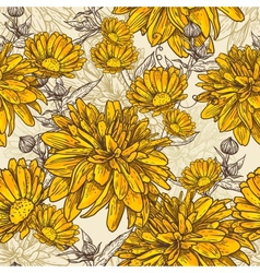 Floral seamless pattern with blooming flowers vector