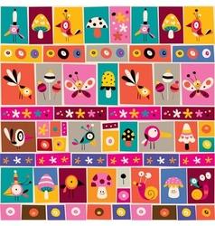Flowers birds mushrooms snails nature collage vector