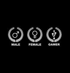 Gamer gender gaming male female design vector