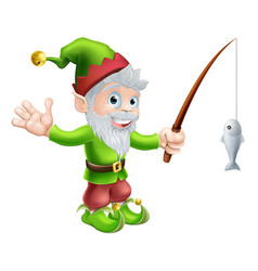 garden gnome with fishing rod vector image