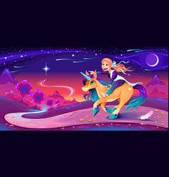 Girl is riding unicorn following her star vector