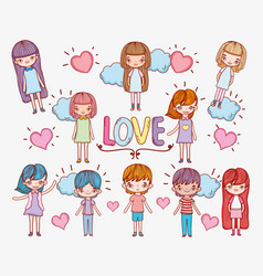 girls and boys in love with hearts and clouds vector image