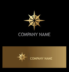 Gold north star compass logo vector