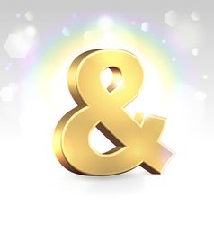 Golden ampersand sign over magic vector image