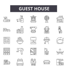 Guest hotel house line icons signs set vector