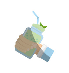 Hand holding smoothie mint fresh drink vector