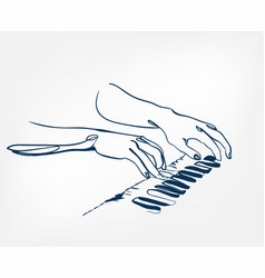 Hands piano keys synthesizer sketch line design vector