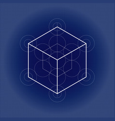 Hexahedron from metatrons cube sacred geometry vector