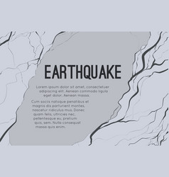 Horizontal card with earthquake and space vector