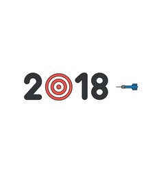 icon concept year 2018 word text with bulls vector image