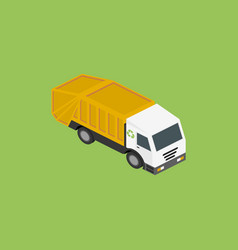 Icon isometric garbage truck vector