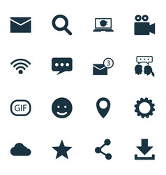 Internet icons set collection publish vector