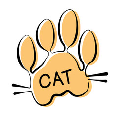 isolated cat paw print on white background vector image
