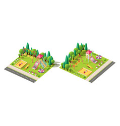 isometric set children playground vector image