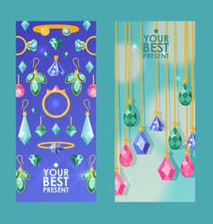 Jewelry store website banners vector