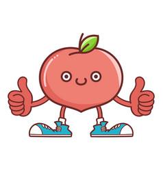 Kawaii smiling peach fruit with sneakers cartoon vector