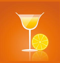 lemon drink on an orange background vector image