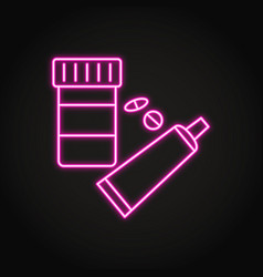 medication bottle and tube icon in neon line style vector image