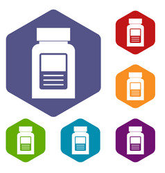 Medicine bottle icons set hexagon vector