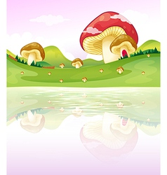 Mushrooms near the lake vector image