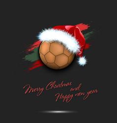 New year and handball ball in santa hat vector