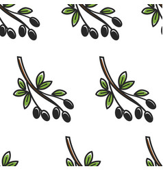 olive branch greece symbol seamless pattern greek vector image