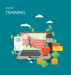 Online training flat style design vector