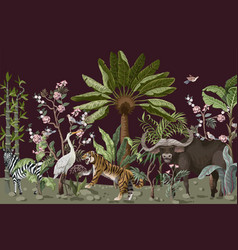 pattern in chinoiserie style with tiger heron and vector image