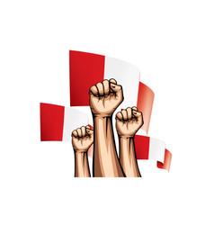 Peru flag and hand on white background vector