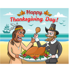 Pilgrim and a native american with a roast turkey vector