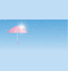 pink umbrella with rain drop minimal style vector image