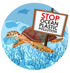 Poster design with sea turtle holding stop vector