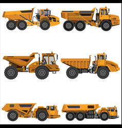 Powerful articulated dump truck vector