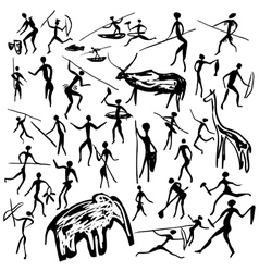 Rock paintings with scenes of hunting and life vector