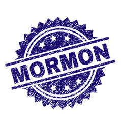 Scratched textured mormon stamp seal vector