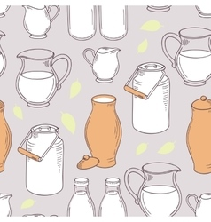 Seamless pattern with milk objects vector