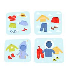 Season clothes winter summer autumn and spring vector