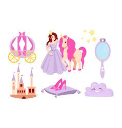 set of beautiful little princess vector image