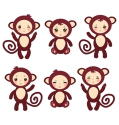 Set of funny brown monkey boys and girls on white vector image