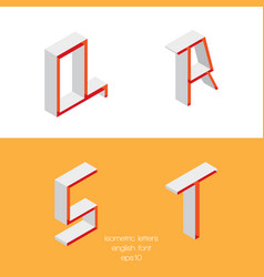 set of isometry letters q r s t font part vector image