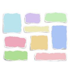 Set paper different color fragments scraps vector