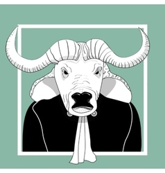 Sketch bull man judge vector