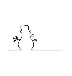 snowman with pipe black line vector image